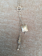 Balinese Teardrop and Thai Striated Silver Pillow Lariat Necklace