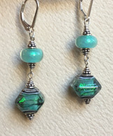 Double sea foam green dichroic lampworked earrings