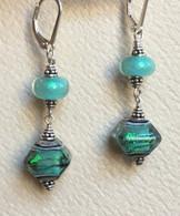 Double sea foam green dichroic lampworked earrings