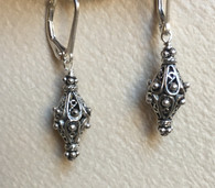 Double sterling lattice cone earrings