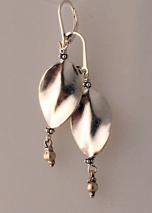 Silky smooth Thai silver leaf shaped earrings