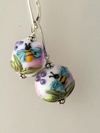 Blue  and white bee lampworked glass earrings