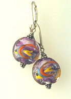 Purple pisces lampworked glass earrings