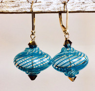Onion shaped aqua spiral Murano glass earrings