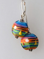 Caribbean sailboat lampwork lentil shaped earrings
