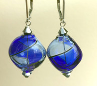 "Bluino and cobalt Murano glass yin yang ""sasso"" earrings"