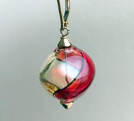 "Red and honey Murano glass yin yang ""sasso"" earrings"