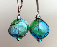 "Aqua and emerald green Murano glass yin yang ""sasso"" earrings"