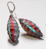 Madras sculpted Murano glass olive shaped earrings with silver findings