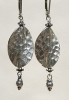 Hammered Thai silver leaf earrings