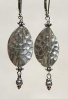 Hammered Thai silver leaf earrings