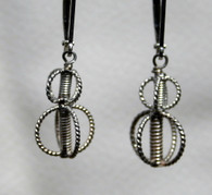 Double Balinese silver lattice earrings