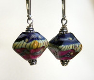 Purple and mauve lampworked crystal shaped earrings