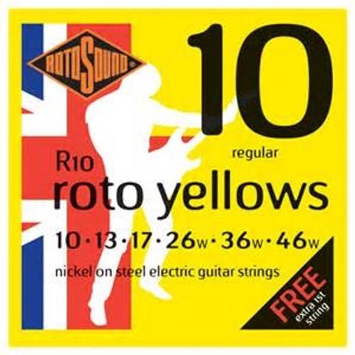 RotoSound Roto Yellows Regular Electric Guitar Strings - 10's