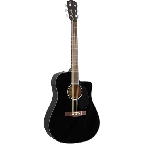 Fender CD-60SCE Dreadnought Solid-Top Acoustic/Electric Guitar - Black