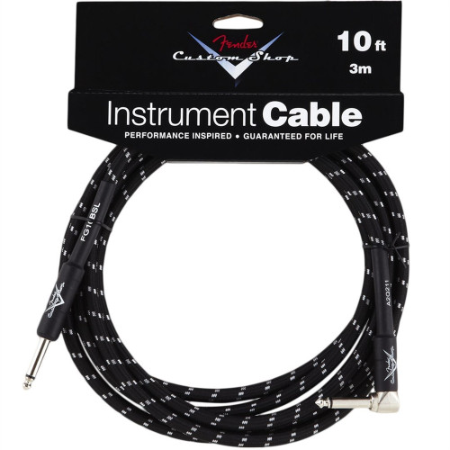 Fender 10' Right-Angle Black Tweed Instrument Cable