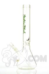 "Sheldon Black - 16"" Medio Beaker with Green Signature Logo Side 1"