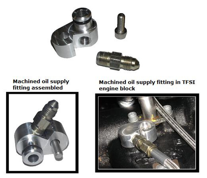 Machined TSI oil feed (supply) fitting for 2009 and up 2.0T (TSI) engine block