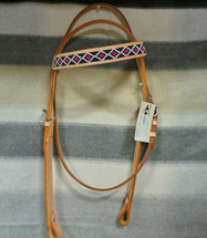 Light Oil Beaded Browband (Pink Beads)