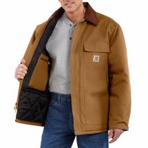 Carhartt Men's Duck Traditional Coat - Arctic Quilt-Lined (Brown)