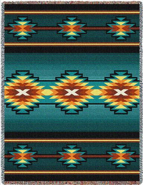 Southwest Geometric Turquoise II (Aydin) Tapestry Throw