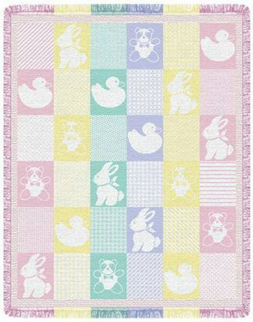 Baby Animals Mini Two Layer Woven Throw L20084
