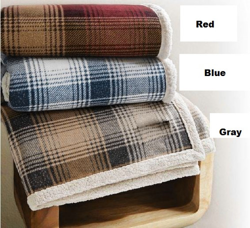 Cottage Plaid Faux Lambswool Throw - Red