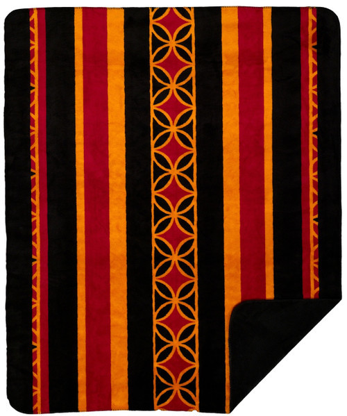 Denali Gold Stripe/Black MicroPlush Throw