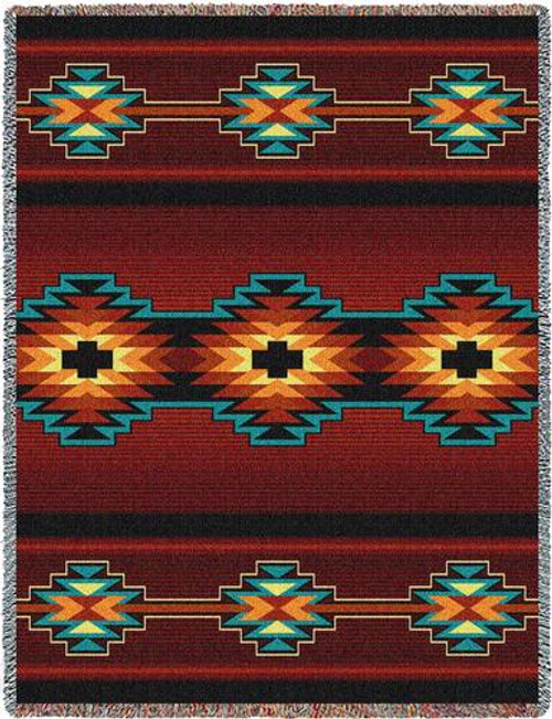 Southwest Geometric Deep Red Throw