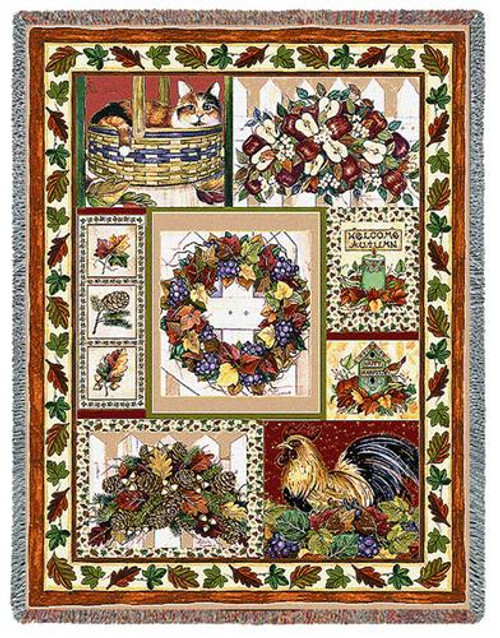 Fall Patchwork Tapestry Throw PC-6083-T
