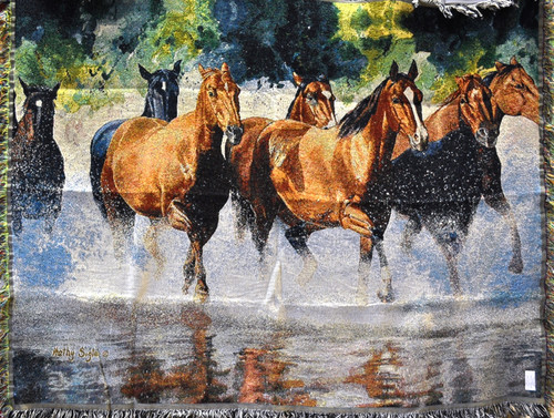 SOLD OUT! Horse Play Tapestry Throw by Kathy Sigel