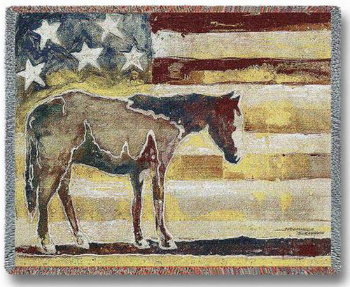 Horse Red White and Blue Tapestry Throw