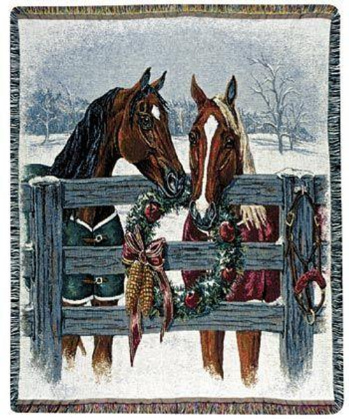 Horse Holiday Tapestry Throw or Pillow