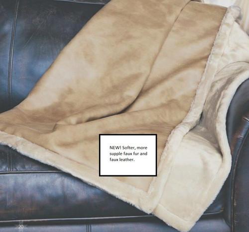 Kanata Faux Buckskin and Faux Fur Throw Blanket