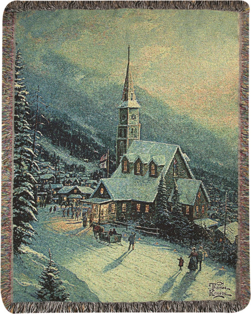 Moonlit Village Tapestry Throw by Thomas Kinkade