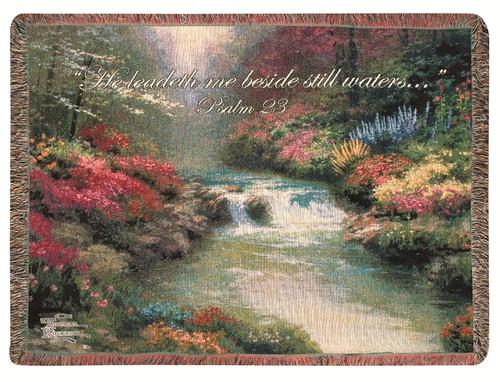 Thomas Kinkade Beside Still Waters Verse Tapestry Throw