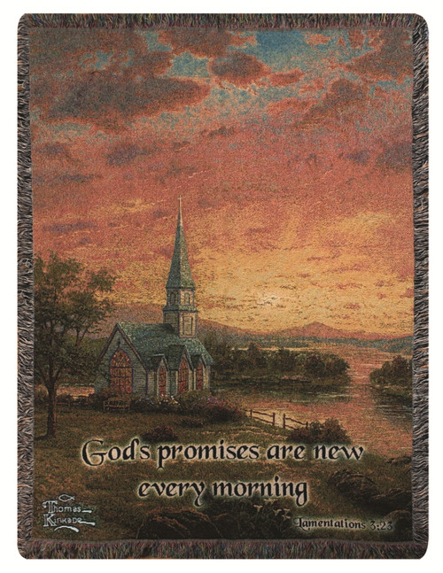 Thomas Kinkade Sunrise Chapel Tapestry Throw