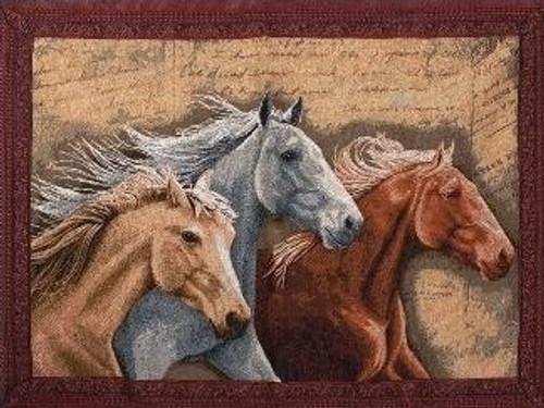 Three Horses Tapestry throw
