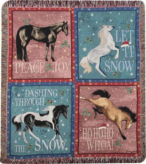 Whoa Ho Holiday Horse Tapestry Throw