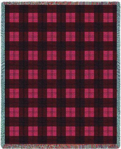 Watermelon Plaid Tapestry Throw