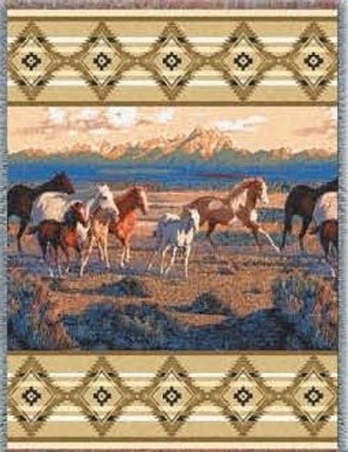 Beige Wild Horses Afghan or Throw