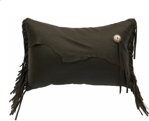 Deerskin Chocolate Leather Rectangle Pillow