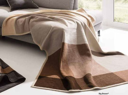 Thermosoft Big Brown Blocks Biederlack Blanket
