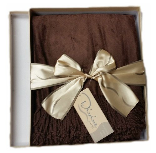 Divine Luxe Bamboo and Cotton Throw Blanket Chocolate