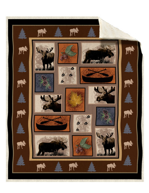 Sherpa Moose Tracks Silk Touch Throw Blanket