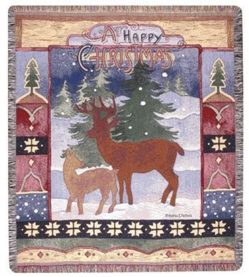 A Happy Christmas Throw Blanket by Simply Home (50x60 Inches)