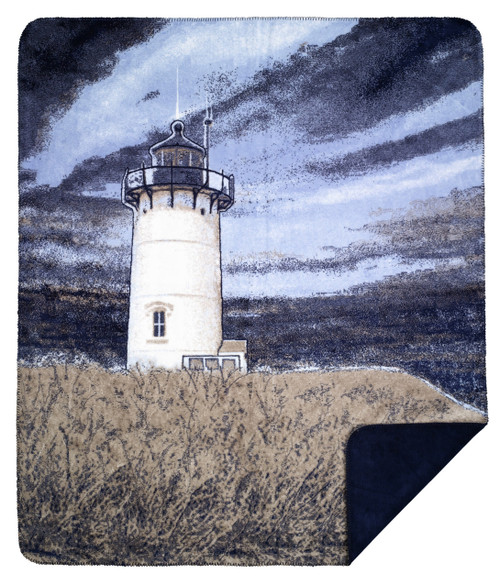 Denali Lighthouse / Classic Navy MicroPlush Blanket