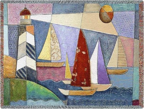 Bay Regatta Throw Blanket by Pure Country Weavers (54x70 Inches)