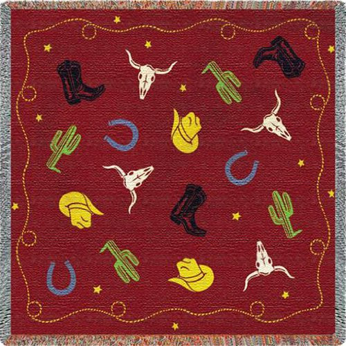 Cowboy Days Lap Square Throw Blanket by Pure Country Weavers (54x54 Inches)