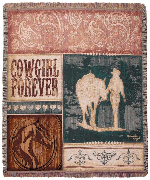 Cowgirl Forever Throw Blanket by Simply Home (50x60 Inches)